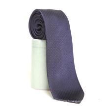 Mens Fashion Fashion marque privée bleu marine à pois en soie tissé cravate