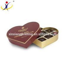 Papier de boîte de cadeau de chocolat de forme de coeur, boîte d'emballage de chocolat, boîte de chocolat de fantaisie de luxe
