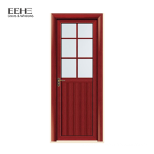 Wood grain aluminum swing door half glass door for kitchen
