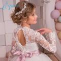 2017 Sequined Beading Sashes Long Sleeve Flower Girl Dresses