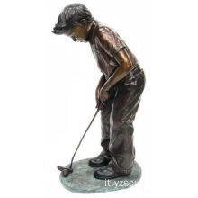 Bronzo Boy Golf Statue in vendita