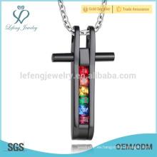 Colgante libre del orgullo gay de la muestra, colgante cruzado cuadrado, diseño pendiente cristalino