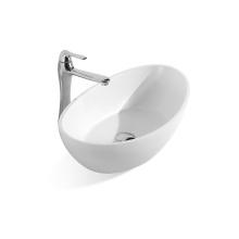 Oval White Vessel Sink Modern Egg Shape Above Counter Bathroom Vanity Bowl