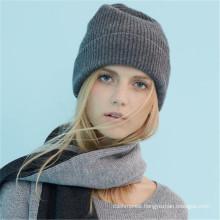 women's cashmere merino wool chunky rib knit beanie hat