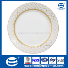 Super blanc porcelaine assiettes et plats vaisselle en or 27cm plaque ronde