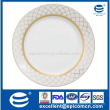 Pratos de louça de porcelana super branco e pratos louça de ouro placa redonda de 27 centímetros