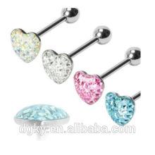 "Gem Paved coração barbell epoxy 14G 5/8 ""aço língua anel piercing jóias"