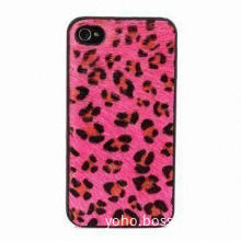 Leopard Grain PC Case for iPhone 4 and 4S, in Pink and Black Color, Elegance Look, Soft Handfeel