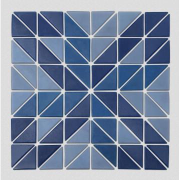 Carreaux de mur art triangle bleu pour piscine
