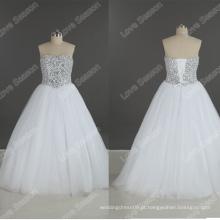 LS0185 Frente com pernas pesadas encomendas de bordado de alta qualidade simples vestido de casamento contas de cristal vestidos de casamento contas de cristal solto