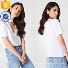 White Cotton V-Neck Short Sleeve Summer Top Manufacture Wholesale Fashion Women Apparel (TA0079T)
