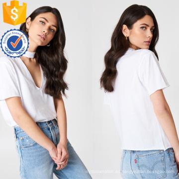 Camisa blanca de algodón con cuello en V de manga corta de verano Fabricación al por mayor de moda de mujer (TA0079T)