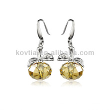 2014 new product apple shape yellow transparent crystal earrings