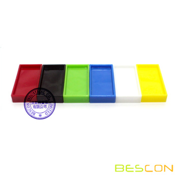 Colorful plastic domino for assemblage art, Domino Rally, small domino