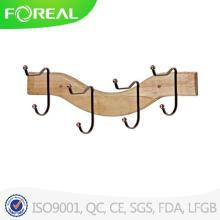 De madeira 4 ganchos roupas pendurado parede montado fecho de toalha