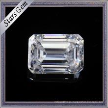 1,5 quilates 7.5X5.5mm maravilhoso esmeralda Cut F cor branca Moissanite pedras