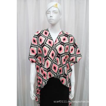 Damenmode gedruckt gestrickt Polyester Seide T-Shirt (YKY2225)