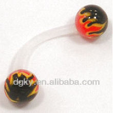 Soft and flexible Flames Eyebrow Barbell Body Piercing