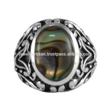 Natürlicher Abalone Shell Edelstein 925 Sterling Silber Ring