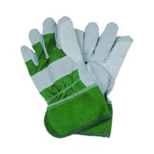Imitar el trabajo de la piel Green Cotton Cow Split Glove