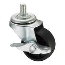 Light Duty Caster Series - 3in. Threaded Stem W/ Side Brake - Black PP