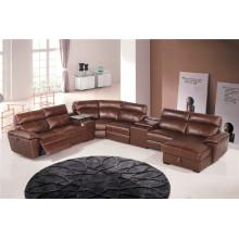 Echtes Leder Chaise Leder Sofa Elektrisch Verstellbares Sofa (854)