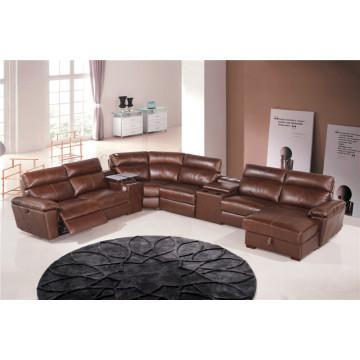 Sofá reclinável elétrico do sofá de couro genuíno do couro (854)