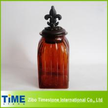 Tarro de almacenamiento de vidrio con tapa de metal (TM022)