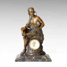 Horloge Statue Worker Bell Bronze Sculpture Tpc-030