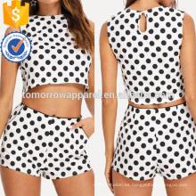 La parte superior y los pantalones cortos sin mangas del polka dot fijaron la fabricación Ropa al por mayor de las mujeres de la manera (TA4103SS)