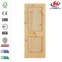 36 in. x 84 in. Knotty Pine Veneer 2 Panel Plank Solid Wood Interior Barn Door Slab