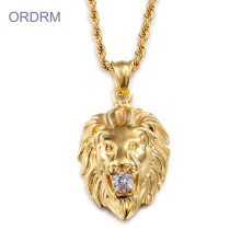 Punk Gold Plated Lion Charm Necklace для мужчин