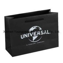 Overprinted Black Matt Gift Paper Carrier Bag with Rope Handles