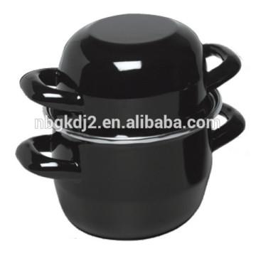 Belly Style BLACK ENAMEL MUSSEL POT 2 LITRE, 18X12CM