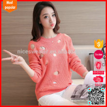 New Arrival Korean Pullovers Logo Light Pink Sweaters with Hole