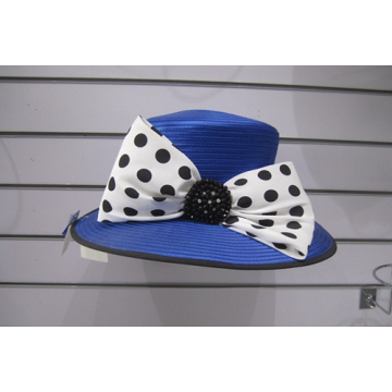 Chapéus de igreja formais de fita de cetim de aba grande para mulher
