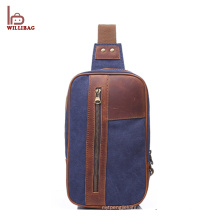 Fashion Leisure Shoulder bag Canvas Leather Chest bag for men