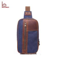 Мода досуг сумка холст кожа груди мешок для мужчин
