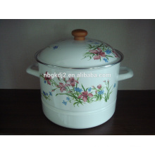 elegant enamel steamer with decal and wooden knob