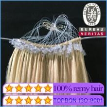 New Product #613 Blond Color 16inch Fishsilk Easy Pull Knot Thread Virgin Hair Extensions Human Hair Virgin Hair Brazilian Hair
