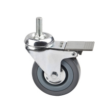 Grey Rubber Light Duty Caster Top Brake