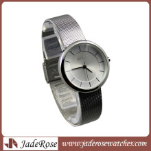 Charme mostrador branco aço inoxidável banda senhora relógio de pulso
