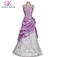 Grace Karin larga sin tirantes púrpura y blanca de Borgoña Quinceañera vestidos baratos CL2519