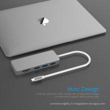 Hub USB 5en1 TypeC vers lecteur de carte SD/TF