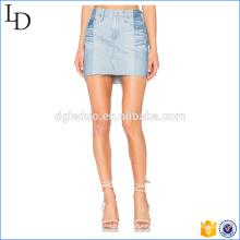 Deux tons respirant lavé concepteur jupe courte femmes crayon denim jupe