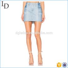 Two tone breathable washed designer short skirt women pencil denim skirt