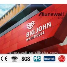 Panel compuesto de aluminio de color diferente de 2M de ancho para carteles de pared de fachadas de señalización