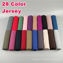 Moda Whosale básicos llanura color sólido dubai al por mayor musulmán delgado estiramiento jersey bufanda hijab