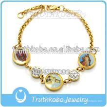 Truthkobo Venta Pulsera Religiosa Joyería Católica Tres Virgen María Llanura Brazalete con Cristal