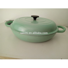 Shallow round enamel cast Iron cooking pot
